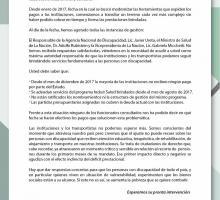 Carta al presidente Mauricio Macri